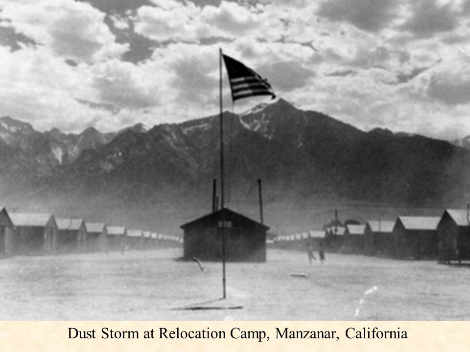 Dust Storm at Relocation Camp, Manzanar, California
