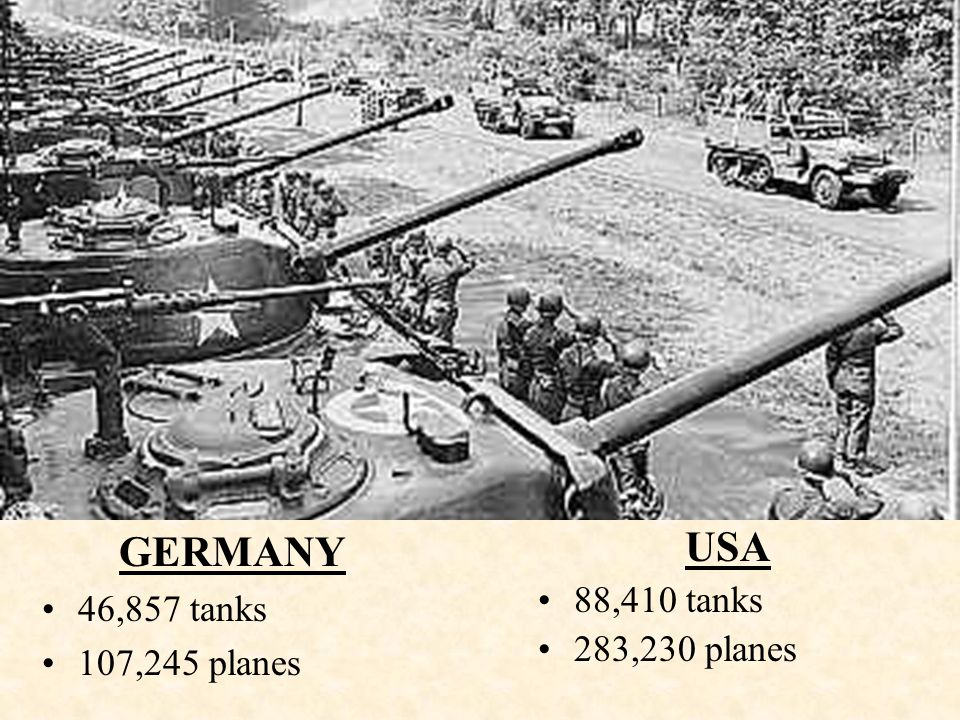 GERMANY 46,857 tanks 107,245 planes USA 88,410 tanks 283,230 planes