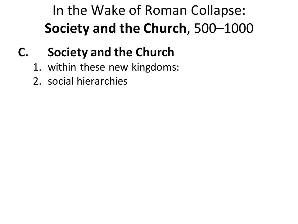 In the Wake of Roman Collapse: Society and the Church, 500–1000