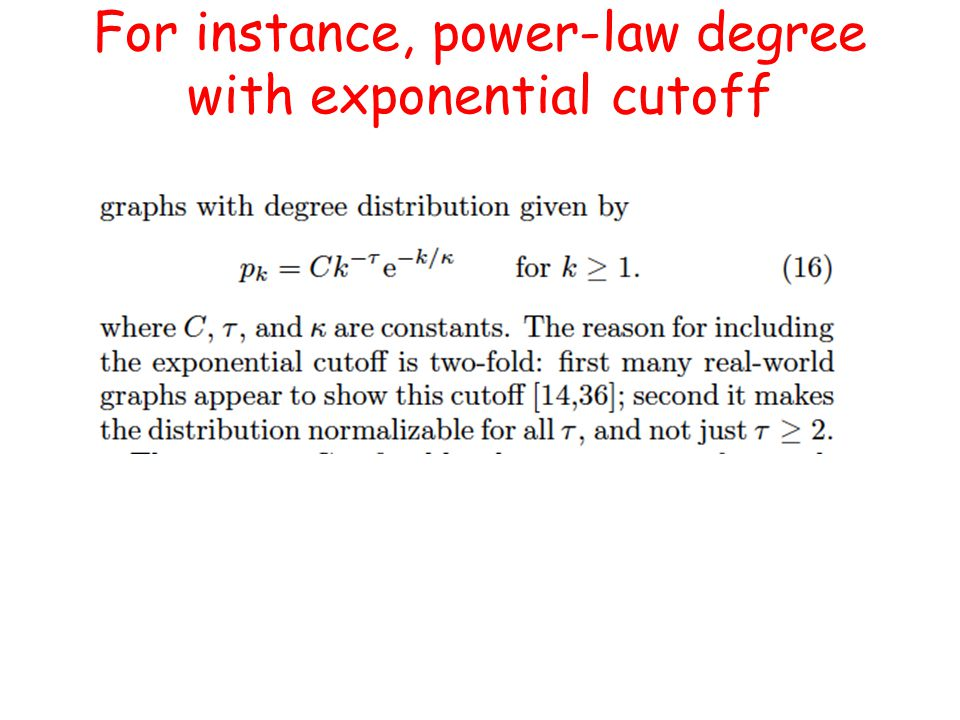 For instance, power-law degree with exponential cutoff
