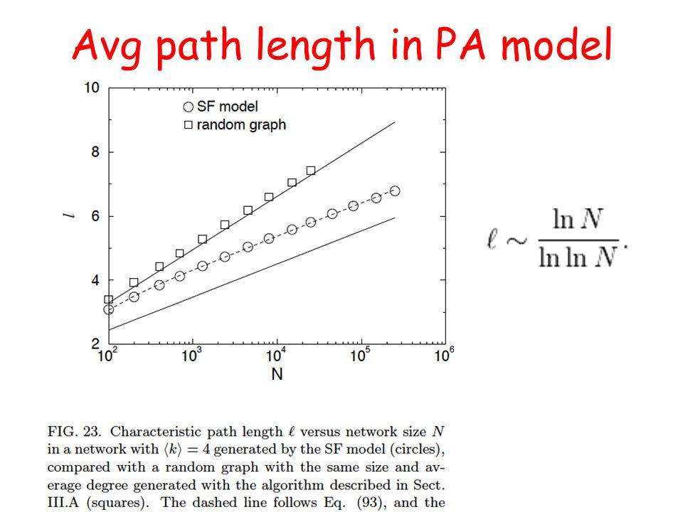 Avg path length in PA model