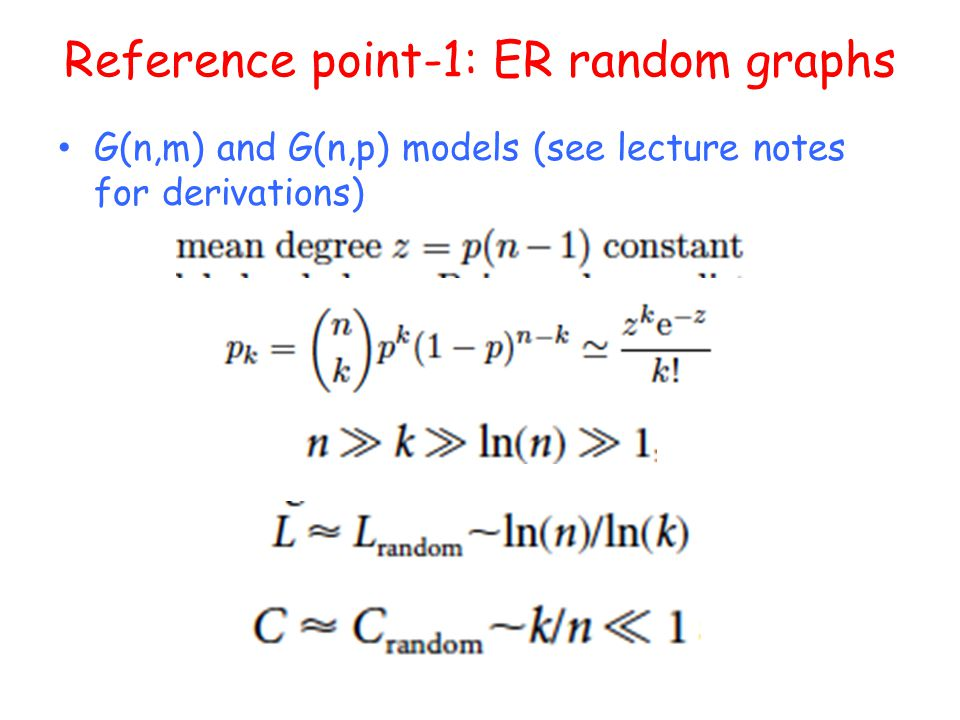 Reference point-1: ER random graphs