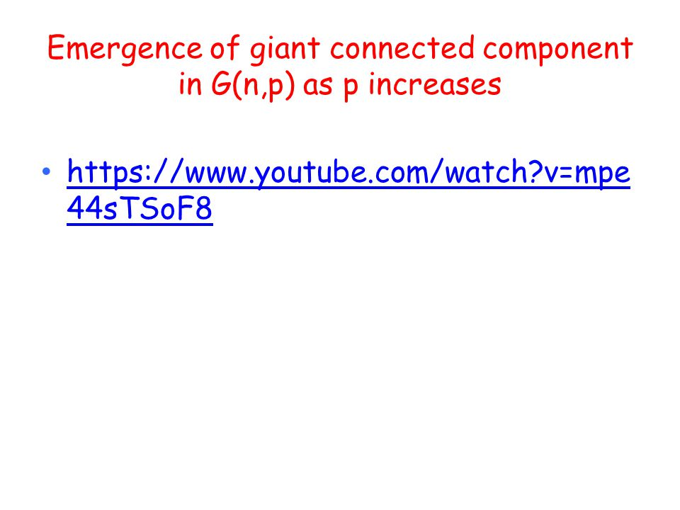 Emergence of giant connected component in G(n,p) as p increases