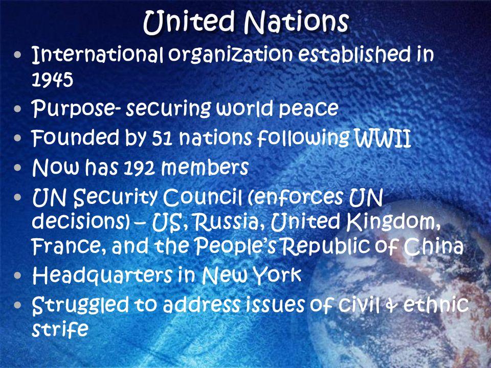 United Nations International organization established in 1945