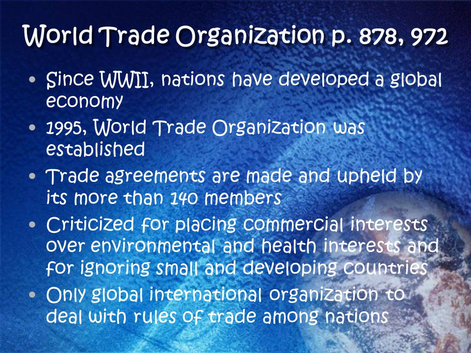 World Trade Organization p. 878, 972