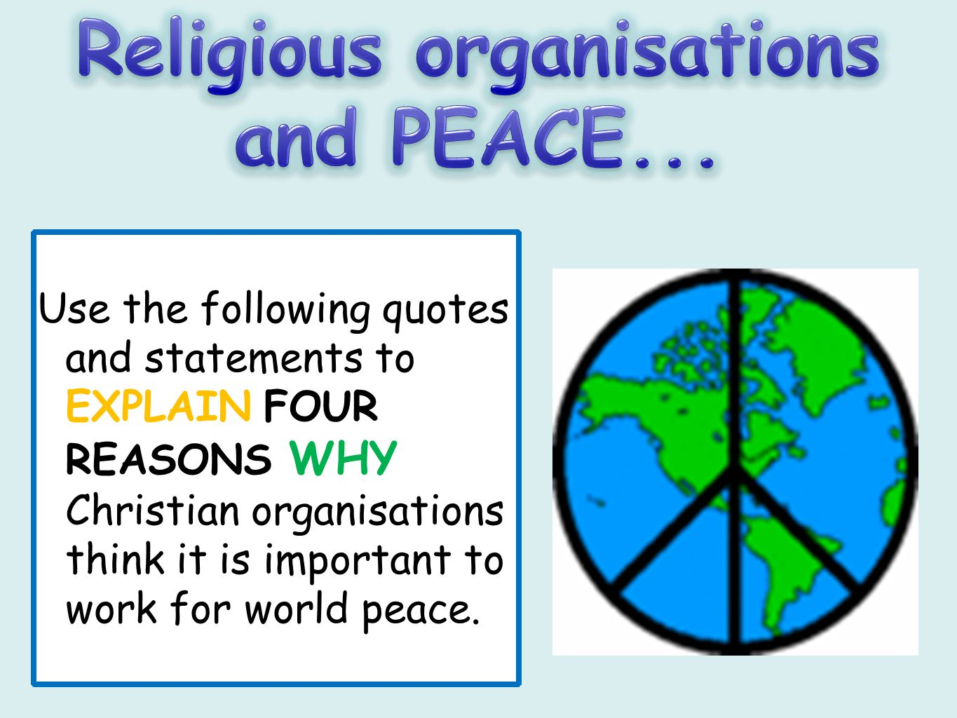Religious organisations and PEACE...