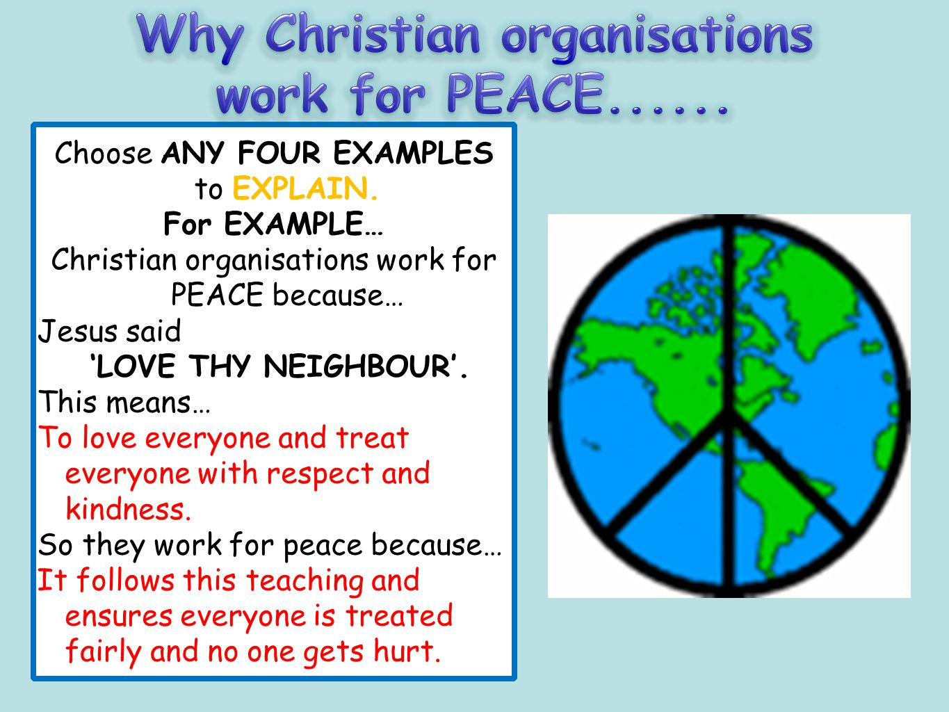 Why Christian organisations work for PEACE......