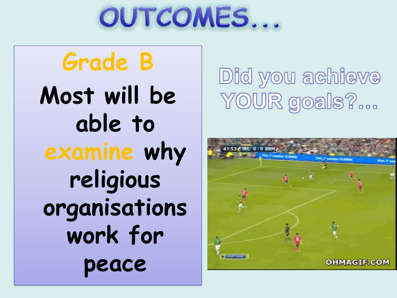 OUTCOMES... Grade B. Most will be able to examine why religious organisations work for peace. Did you achieve.