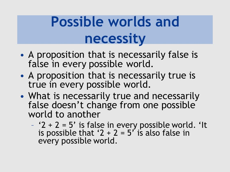 Possible worlds and necessity