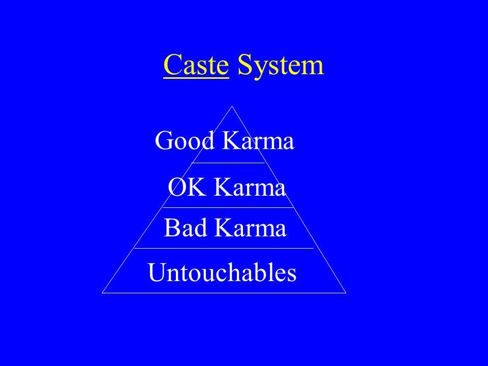 Caste System Good Karma OK Karma Bad Karma Untouchables