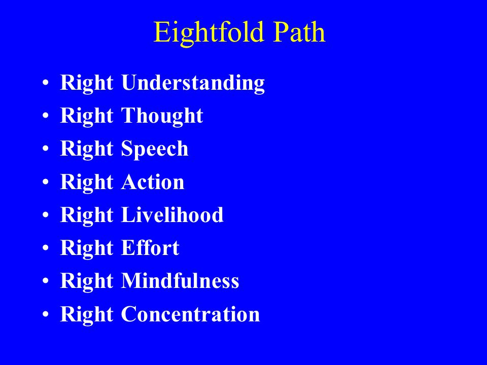 Eightfold Path Right Understanding Right Thought Right Speech
