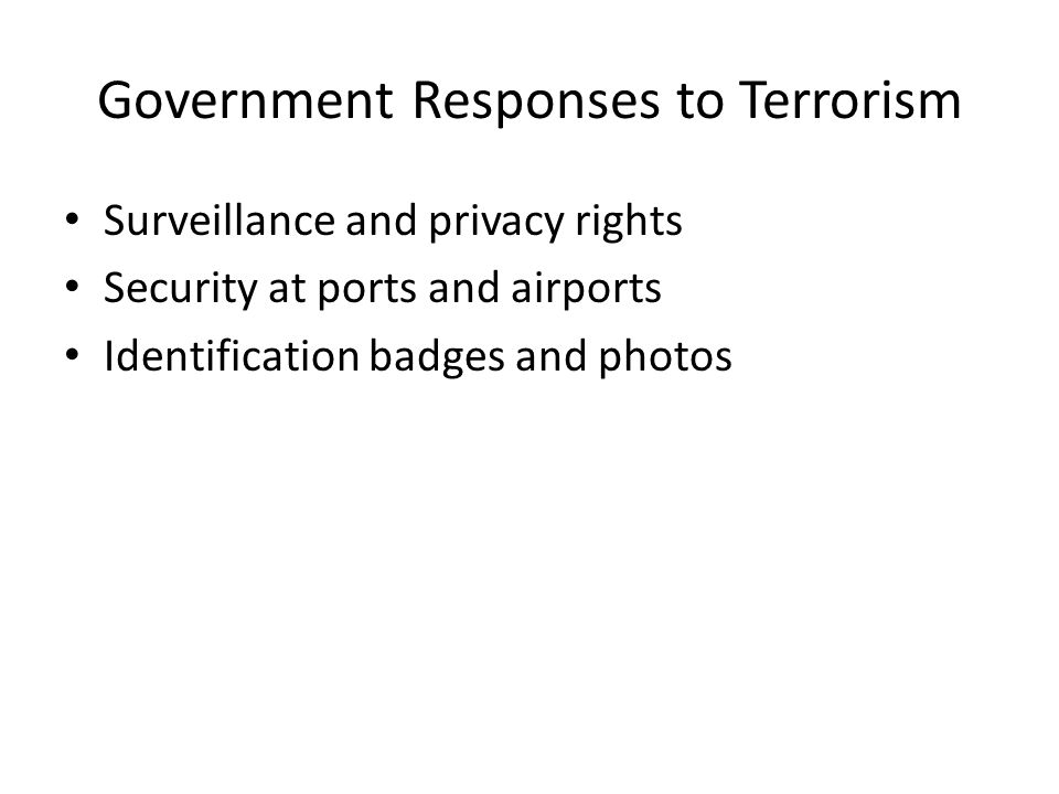 Government Responses to Terrorism