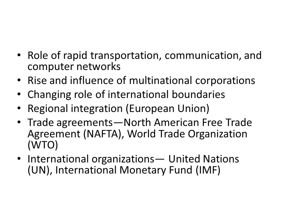 Role of rapid transportation, communication, and computer networks
