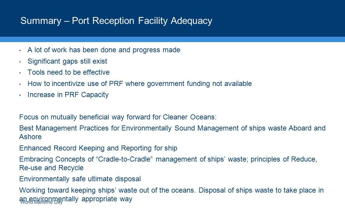 Summary – Port Reception Facility Adequacy
