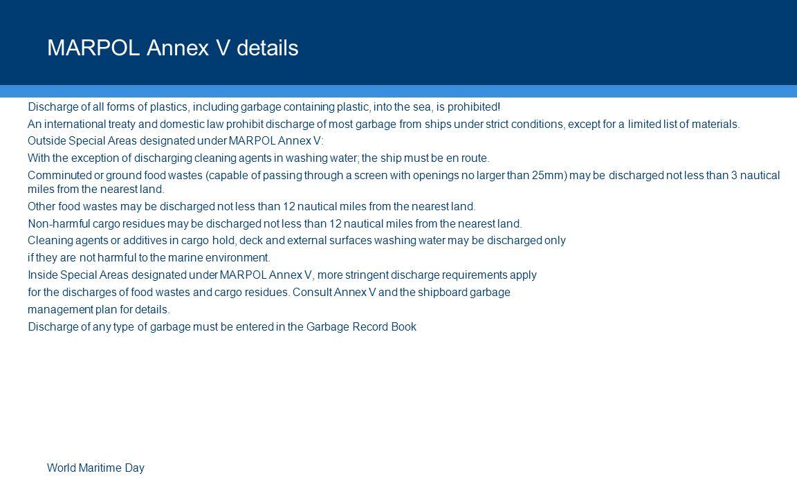 MARPOL Annex V details