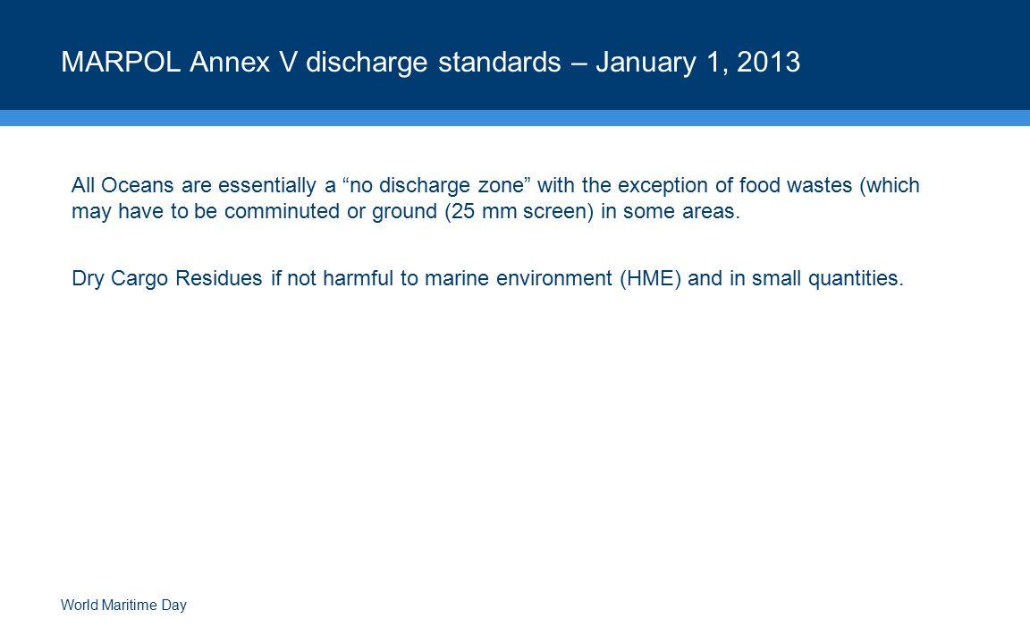 MARPOL Annex V discharge standards – January 1, 2013