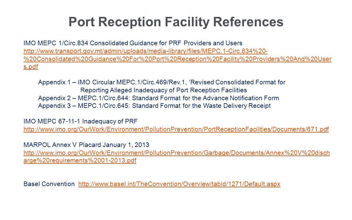Port Reception Facility References