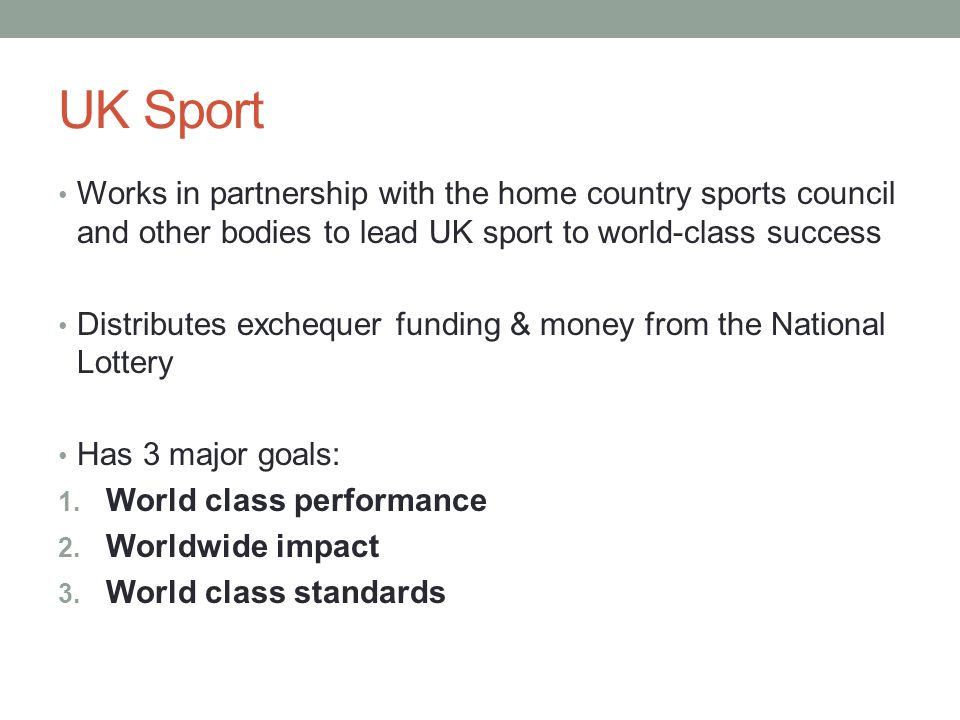 UK Sport Works in partnership with the home country sports council and other bodies to lead UK sport to world-class success.