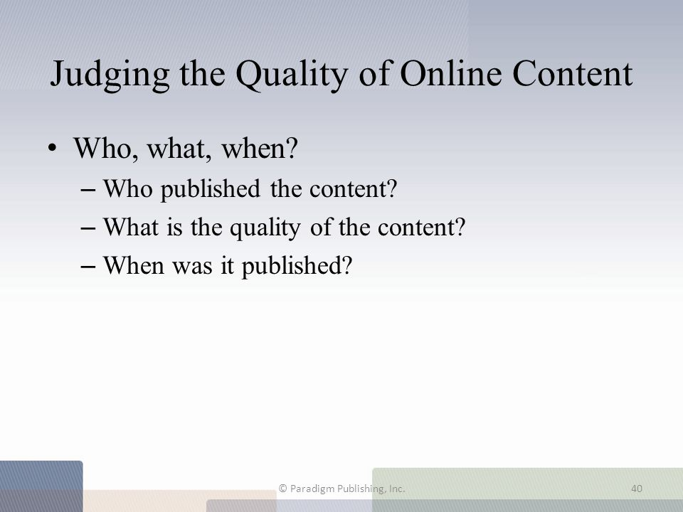Judging the Quality of Online Content