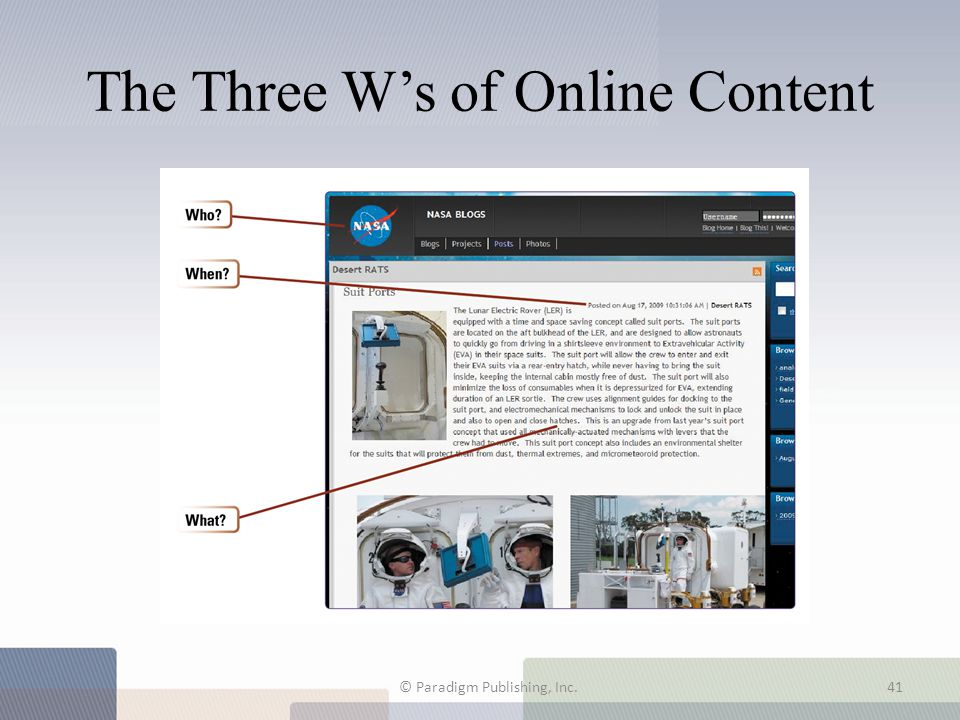 The Three W's of Online Content