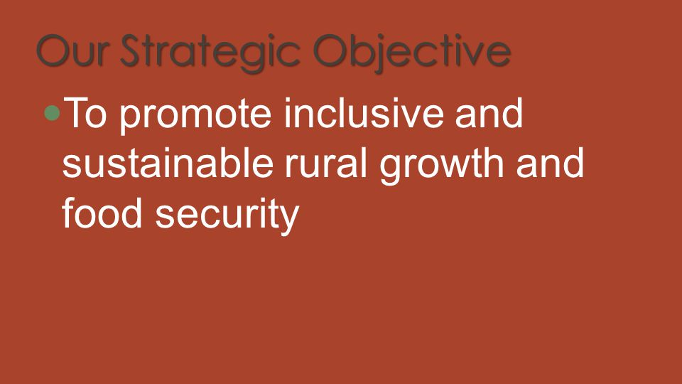 Our Strategic Objective