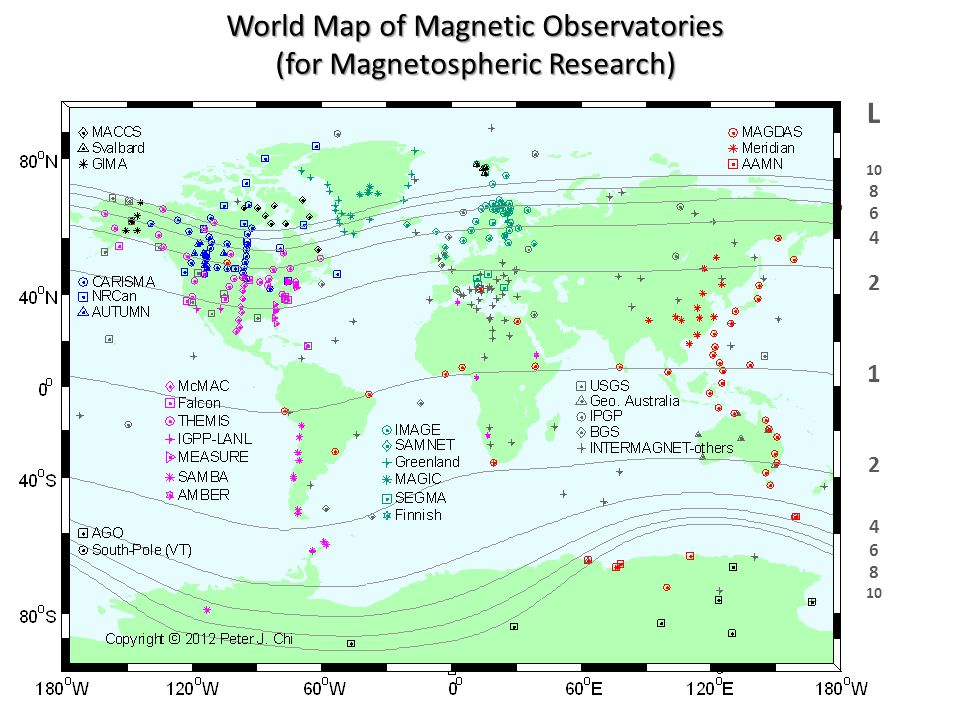 World Map of Magnetic Observatories (for Magnetospheric Research)