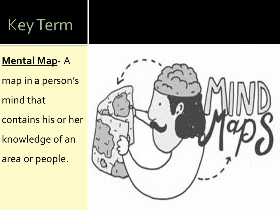 Key Term Mental Map- A map in a person's mind that contains his or her knowledge of an area or people.