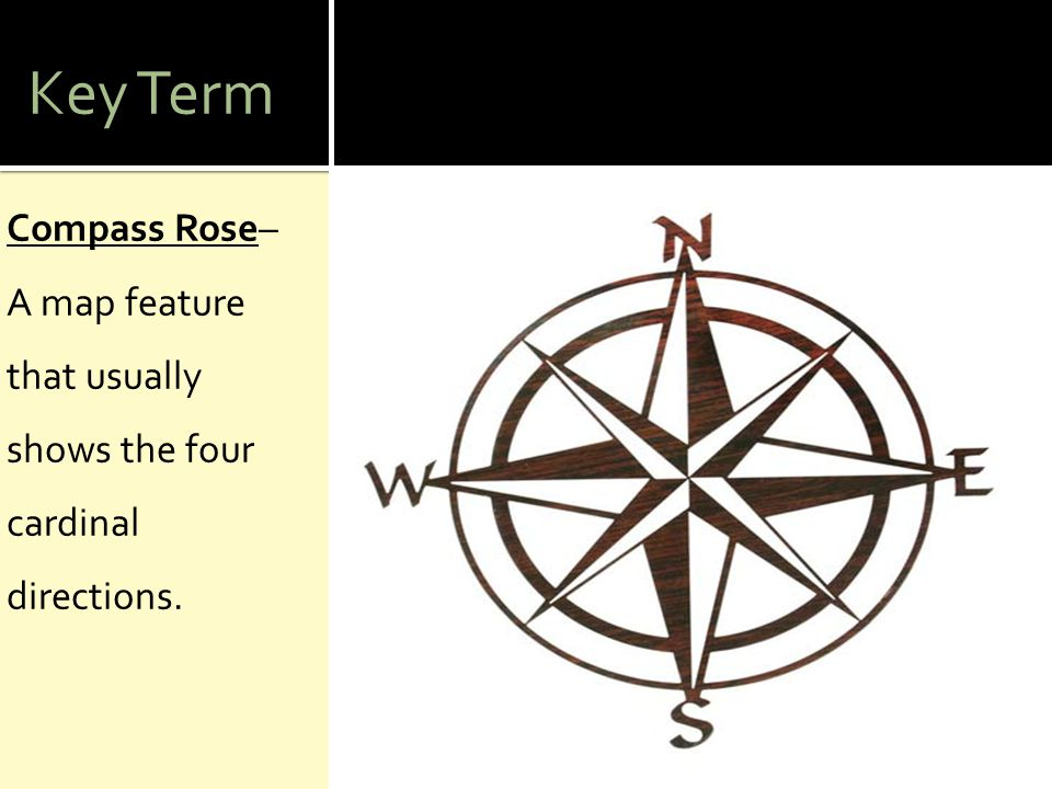 Key Term Compass Rose– A map feature that usually shows the four cardinal directions.