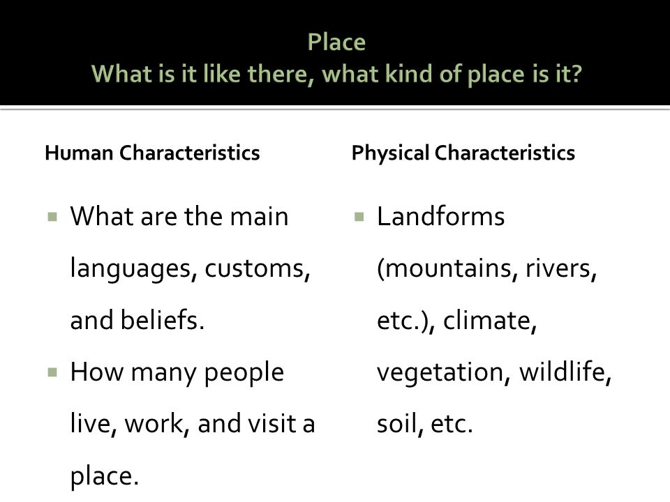 Place What is it like there, what kind of place is it