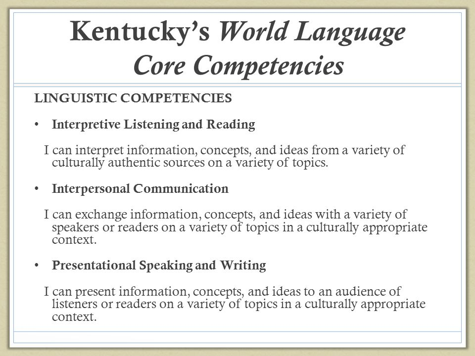 Kentucky's World Language Core Competencies