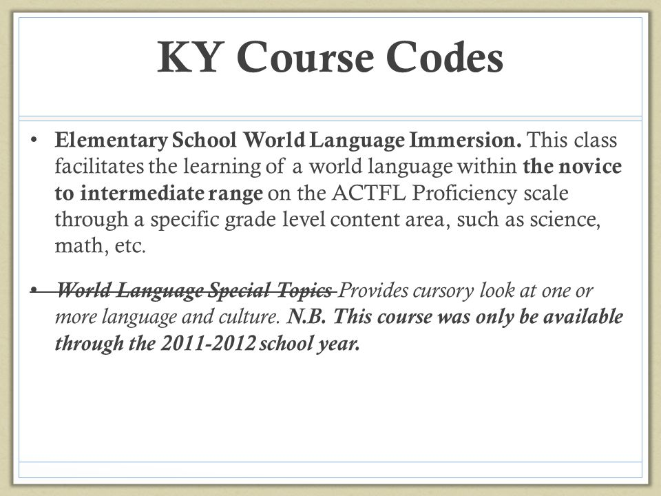 KY Course Codes