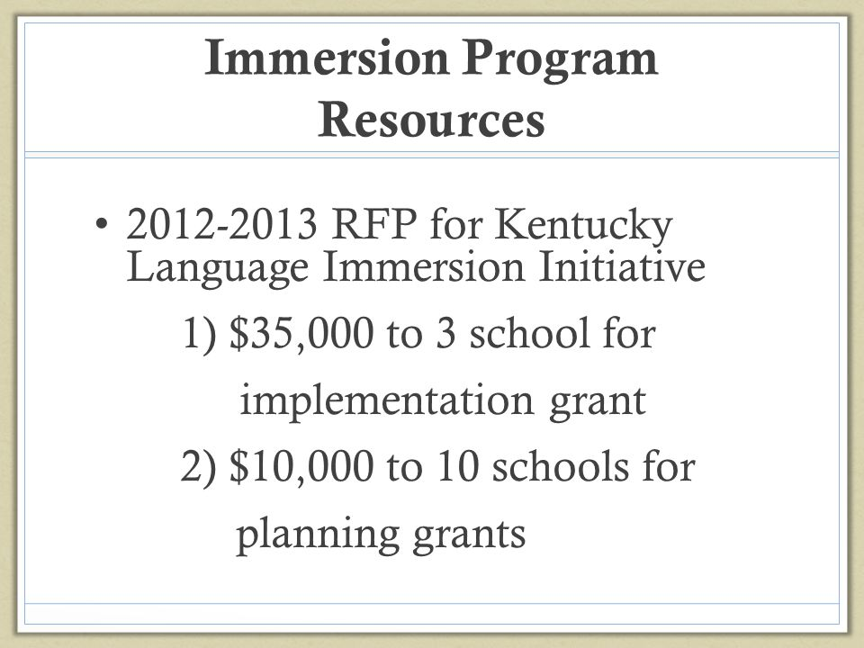 Immersion Program Resources