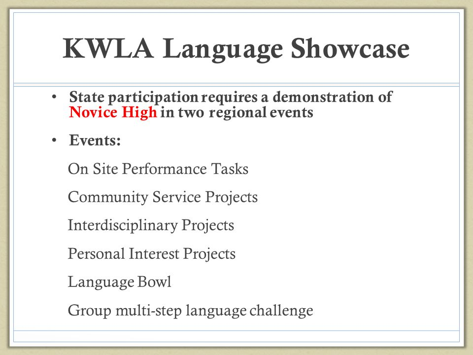KWLA Language Showcase
