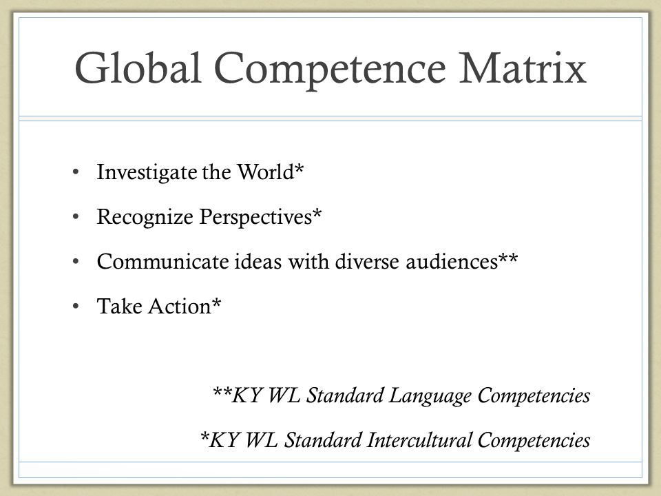Global Competence Matrix