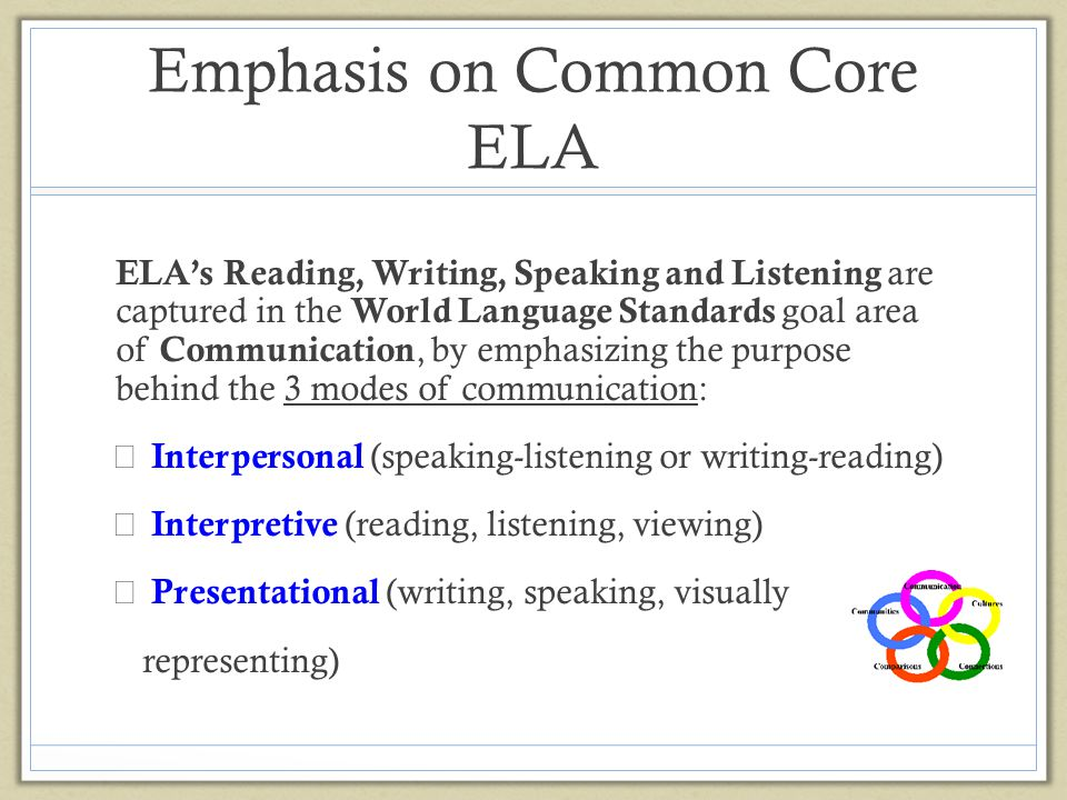 Emphasis on Common Core ELA