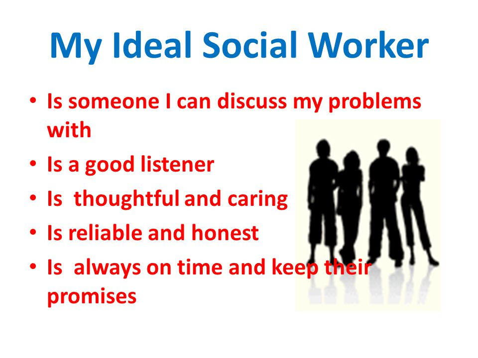My Ideal Social Worker Is someone I can discuss my problems with