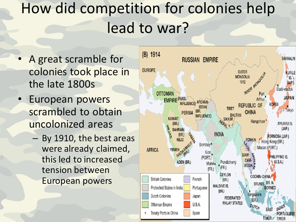 How did competition for colonies help lead to war