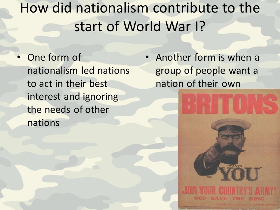 How did nationalism contribute to the start of World War I
