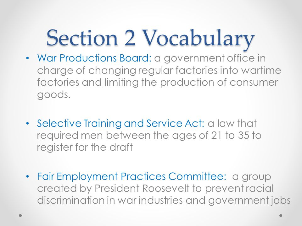 Section 2 Vocabulary