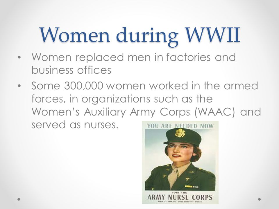 Women during WWII Women replaced men in factories and business offices