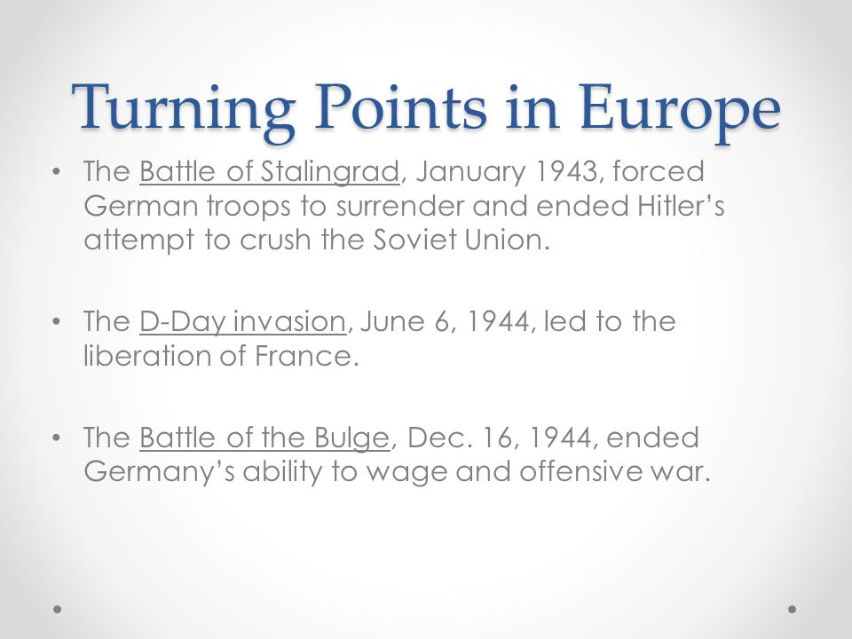 Turning Points in Europe