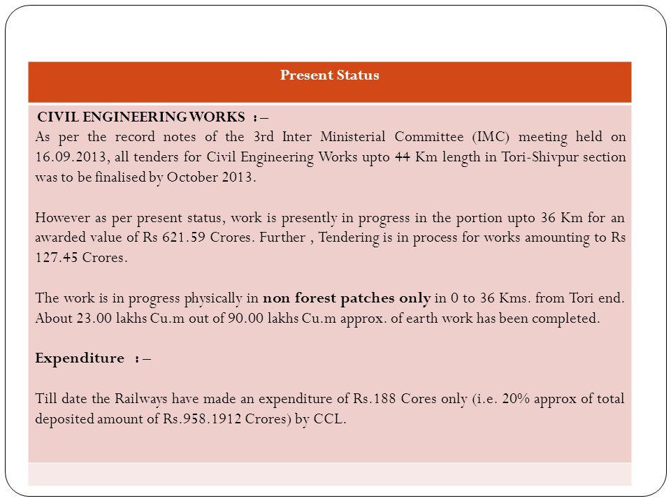 Present Status CIVIL ENGINEERING WORKS : –