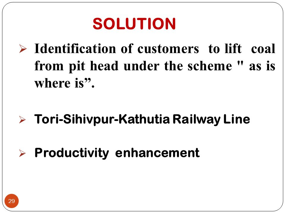 SOLUTION Identification of customers to lift coal from pit head under the scheme as is where is .