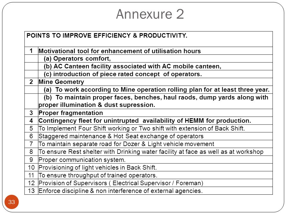 Annexure 2 POINTS TO IMPROVE EFFICIENCY & PRODUCTIVITY. 1