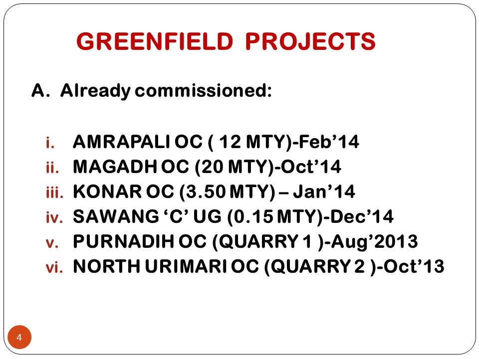 GREENFIELD PROJECTS A. Already commissioned: