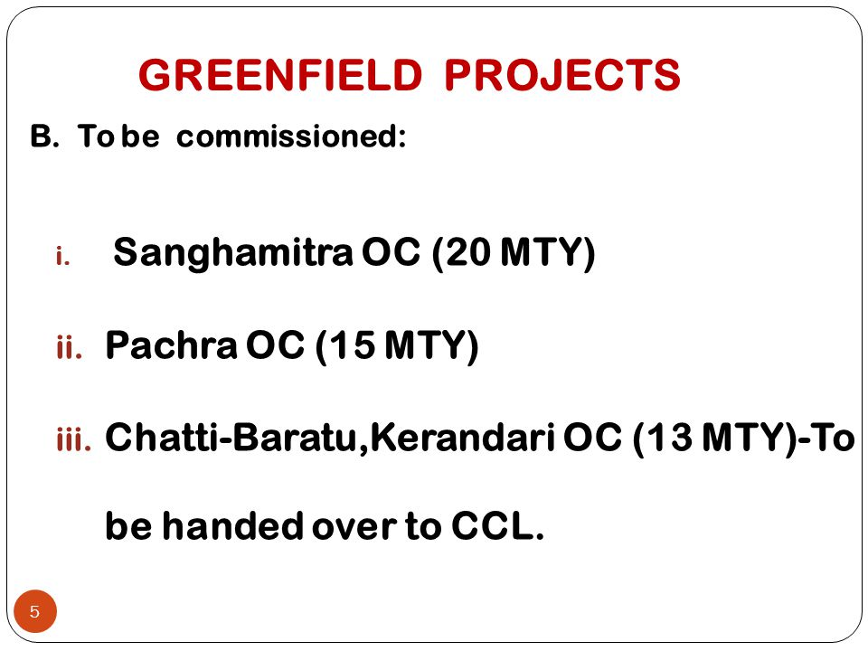 GREENFIELD PROJECTS Pachra OC (15 MTY)