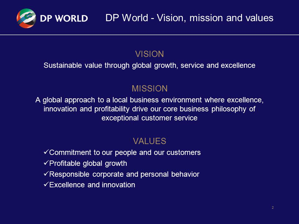 DP World - Vision, mission and values