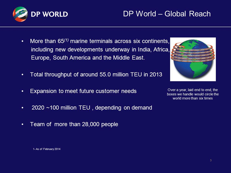 DP World – Global Reach More than 65(1) marine terminals across six continents, including new developments underway in India, Africa,