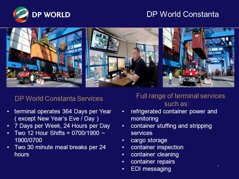 DP World Constanta Full range of terminal services such as: