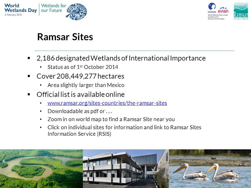 Ramsar Sites 2,186 designated Wetlands of International Importance